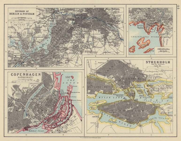 EUROPEAN CITIES. Berlin Copenhagen Stockholm Christiania/Oslo. JOHNSTON 1910 map