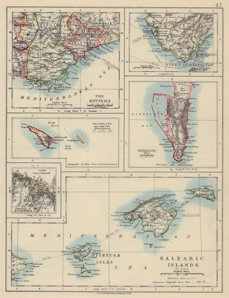 Balearic islands. Heligoland Gibraltar Andorra Côte d'Azur. JOHNSTON 1910 map