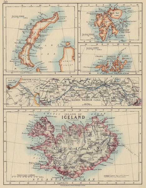 ARCTIC ISLANDS Iceland Spitsbergen Franz Josef Land Novaya Zemlya 1910 old map