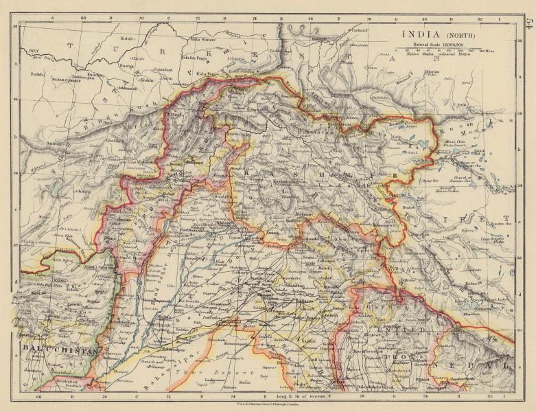 BRITISH INDIA NORTH. Jammu Kashmir Punjab Himalayas. JOHNSTON 1910 old map