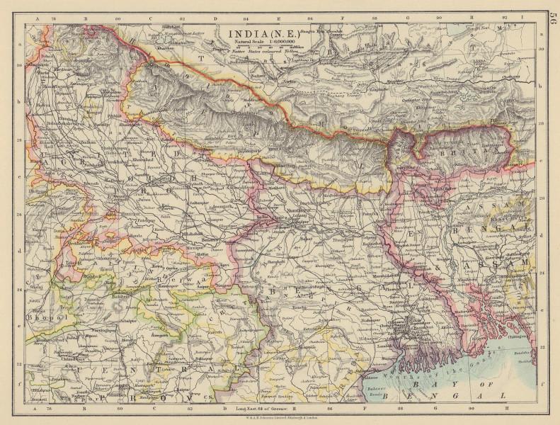 BRITISH INDIA NE. Bengal Nepal Bhutan Calcutta Bangladesh. JOHNSTON 1910 map