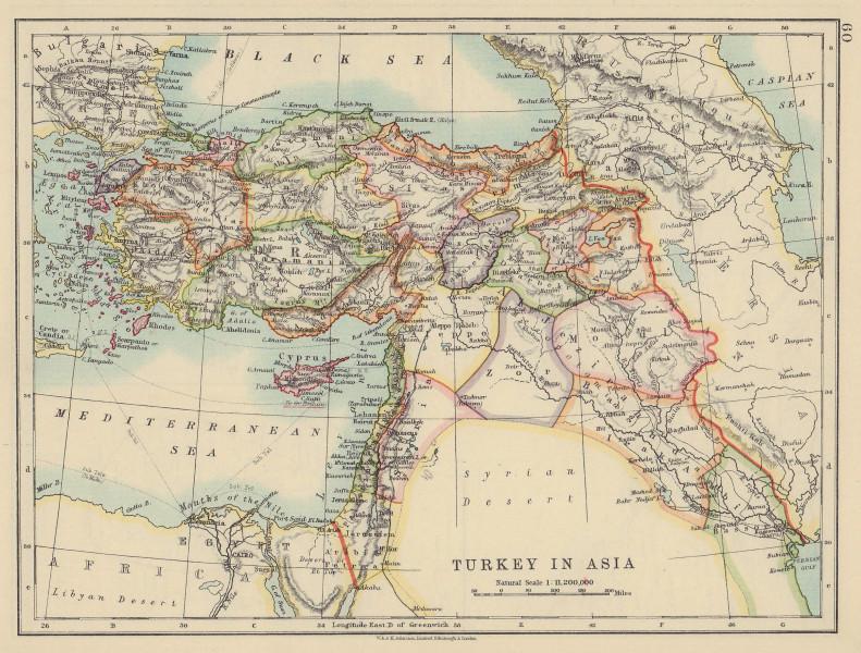 OTTOMAN TURKEY IN ASIA. Cyprus Levant Mesopotamia Palestine. JOHNSTON 1910 map