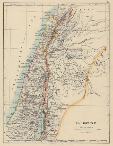 PALESTINE. Galilee Samaria Judea Perea Phoenicia Decapolis. JOHNSTON 1910 map