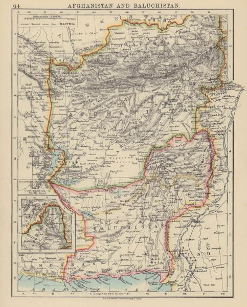 AFGHANISTAN & BALUCHISTAN. Kabul. British Baluchistan (pink). Pakistan  1910 map