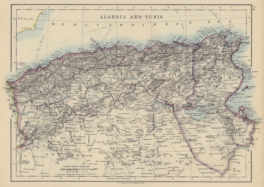 ALGERIA & TUNIS. Maghreb Tunisia. Provinces. Telegraph cables. JOHNSTON 1910 map