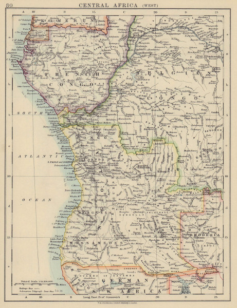 COLONIAL CENTRAL AFRICA. French & Belgian Congo, Angola. JOHNSTON 1910 old map