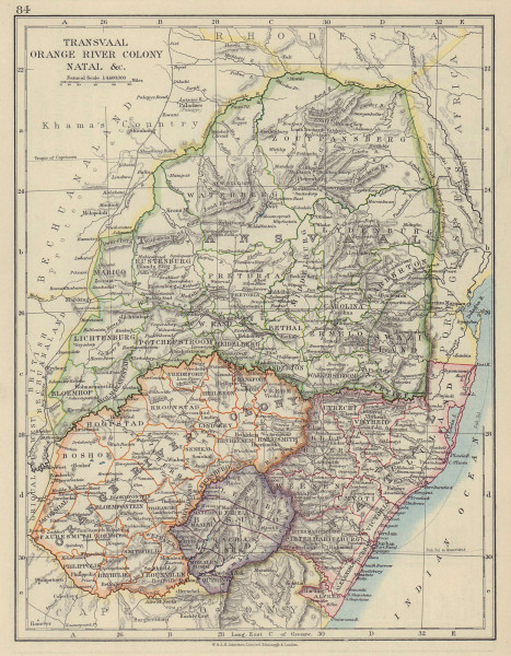 COLONIAL SOUTH AFRICA. Orange River Colony Natal Basutoland Transvaal 1910 map