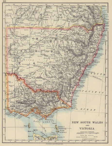 NEW SOUTH WALES & VICTORIA showing railways telegraph cables. Australia 1910 map