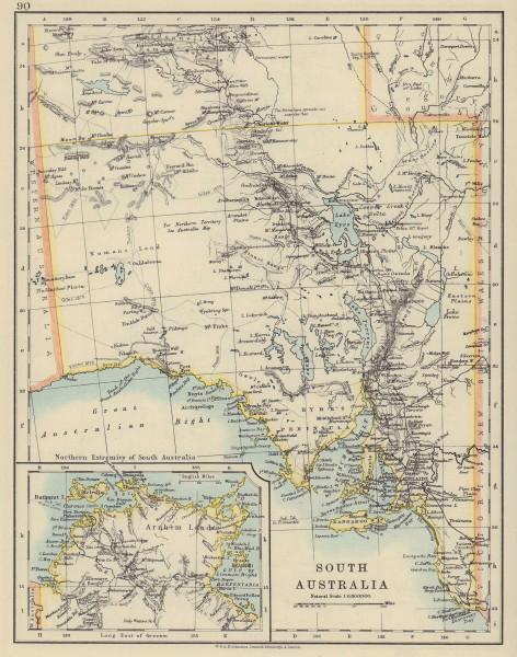 SOUTH AUSTRALIA. Explorer route Sturt Giles Elder Forrest Eyre Tictkins 1910 map