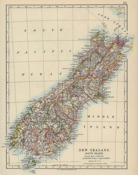 SOUTH ISLAND NEW ZEALAND. Showing counties. Telegraph cables. JOHNSTON 1910 map