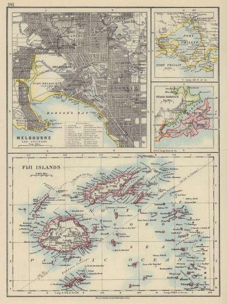 AUSTRALASIA. Melbourne plan. Fiji Viti/Vanua Levu. Otago Port Phillip 1910 map
