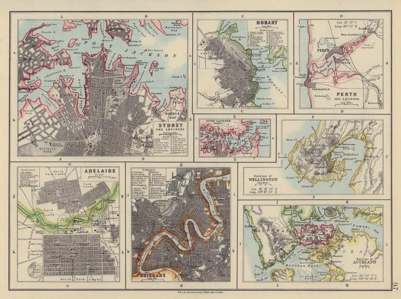 AUSTRALIA NZ CITIES. Sydney Hobart Perth Adelaide Brisbane Auckland 1910 map