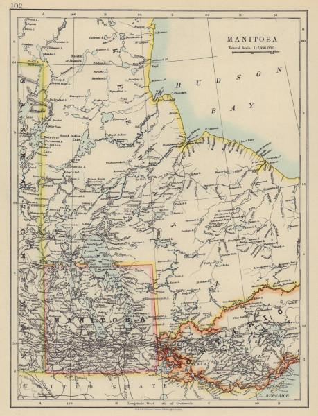 MANITOBA. Postage stamp <1912 border Winnipeg Canadian Pacific JOHNSTON 1910 map