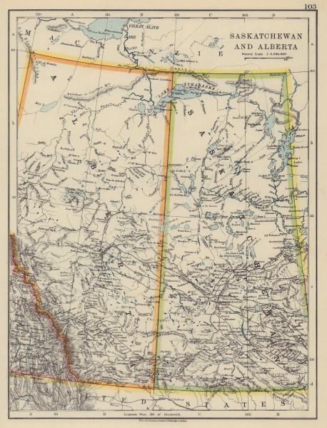 CANADA PRAIRIES. Saskatchewan & Alberta provinces. JOHNSTON 1910 old map