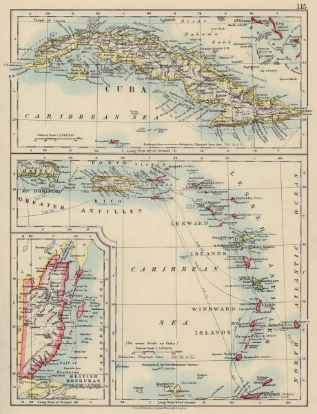 CARIBBEAN ISLANDS. Cuba British Honduras Windward/Leeward. JOHNSTON 1910 map