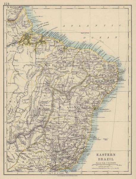 EASTERN BRAZIL. Bahia Minas Gerais Pernambuco Maranhao. JOHNSTON 1910 old map