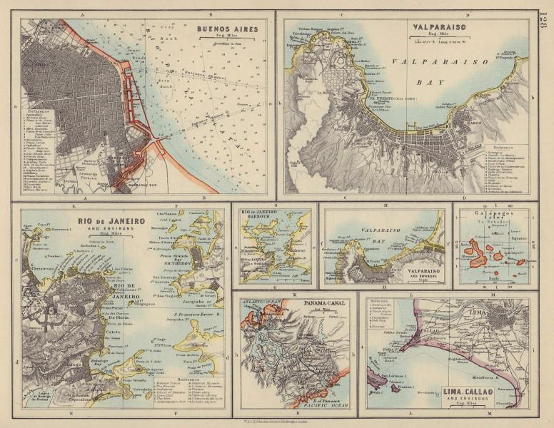 S AMERICA CITIES. Buenos Aires Rio de Janeiro Valparaiso Lima. JOHNSTON 1910 map