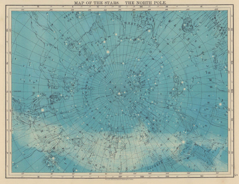 ASTRONOMY. Map of the Stars. The North Pole. Constellations. JOHNSTON 1901
