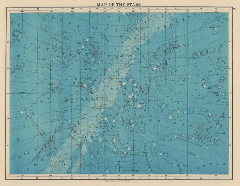 ASTRONOMY. Star map Cancer Eridanua Orion Auriga Lynx Canis Major. JOHNSTON 1901