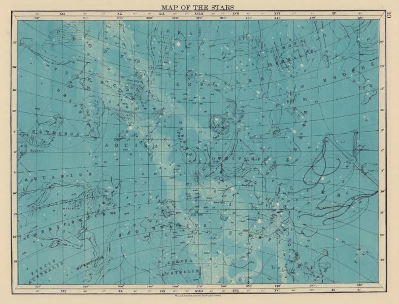 ASTRONOMY. Star map. Sagittarius Hercules Aquila Scorpio Hercules. JOHNSTON 1901