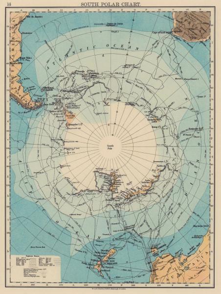 SOUTH POLAR CHART Antarctic Explorer's routes. Larsen Nares Ross Wilkes 1901 map