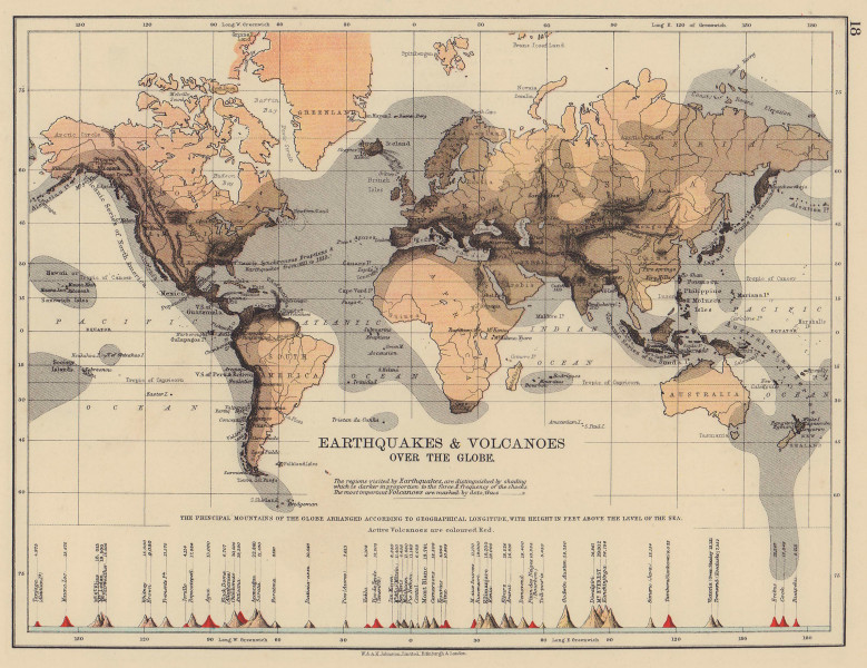 WORLD SEISMIC. Earthquake zones & active/inactive Volcanoes. JOHNSTON 1901 map