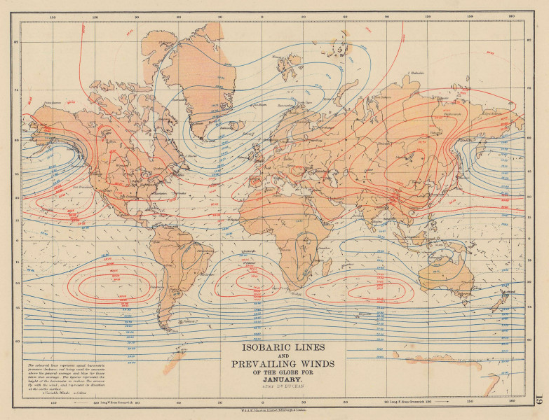 WORLD Isobaric lines & Prevailing Winds of the Globe. January. JOHNSTON 1901 map
