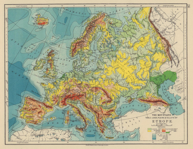 EUROPE RELIEF. Mountains Table lands Plains Valleys. JOHNSTON 1901 old map