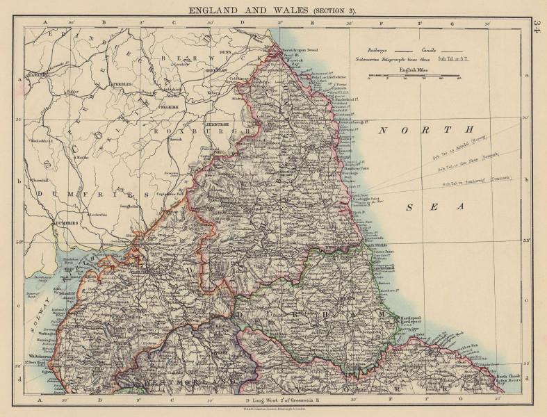 NORTHERN ENGLAND. Cumberland Northumberland Durham Westm. JOHNSTON 1901 map