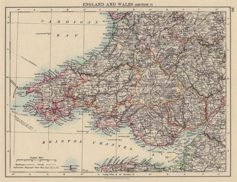 SOUTH WALES. Severn estuary. Glamorgan Pembrokeshire &c. JOHNSTON 1901 old map