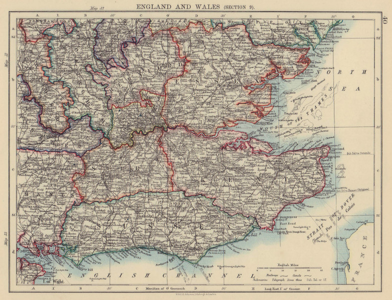 SOUTH EAST ENGLAND. Home counties London Kent Essex Sussex Surrey 1901 old map