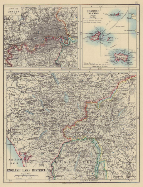 ENGLISH LAKE DISTRICT also London environs & Channel Islands. JOHNSTON 1901 map