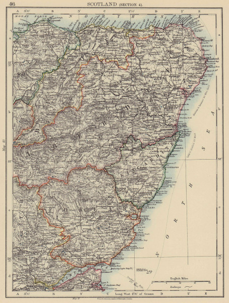 SCOTLAND NE. Aberdeenshire Banff Forfar Kincardine Elgin. JOHNSTON 1901 map