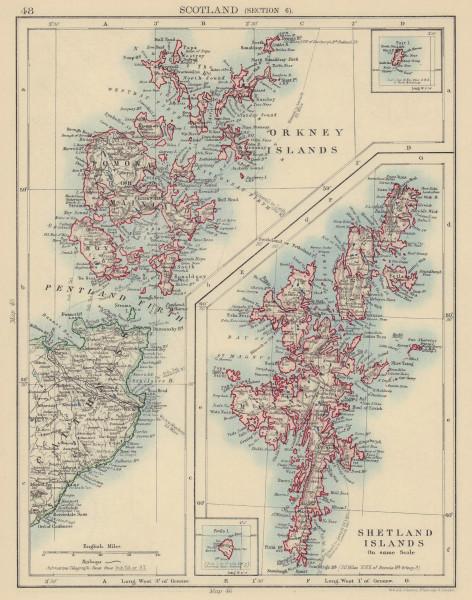 SCOTLAND. Orkney & Shetland Islands Caithness Pentland Firth. JOHNSTON 1901 map
