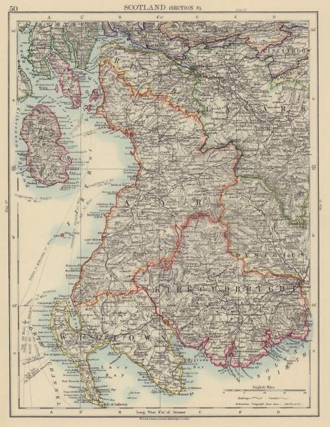 SCOTLAND SW Wigtown Kirkcudbright Ayr Firth Clyde Renfrew Bute JOHNSTON 1901 map