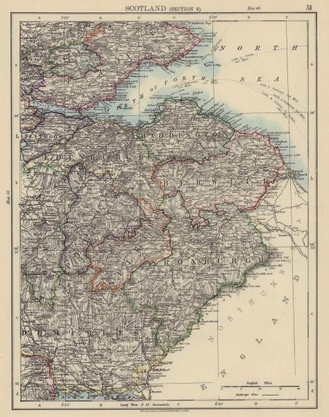 SCOTTISH BORDERS Roxburgh Berwick Edinburgh Selkirk Haddington JOHNSTON 1901 map