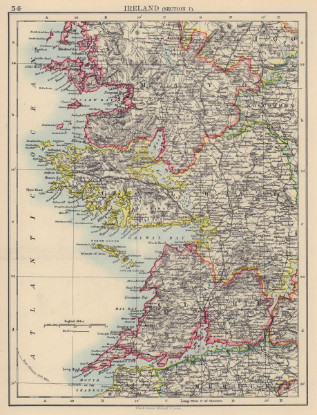 IRELAND WEST COAST. Galway Mayo Clare. River Shannon. JOHNSTON 1901 old map