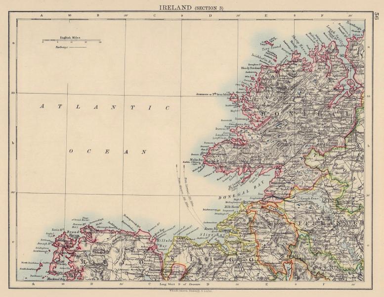 IRELAND NORTH WEST COAST Donegal Mayo Sligo Leitrim Fermanagh. JOHNSTON 1901 map