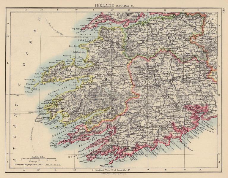 IRELAND SOUTH WEST. Kerry Cork Limerick Killarney. Munster. JOHNSTON 1901 map
