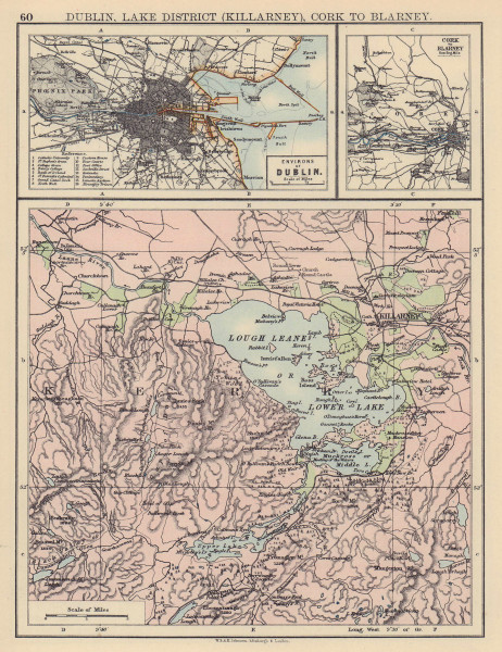 IRELAND. Dublin, Lake District (Killarney) Cork to Blarney. JOHNSTON 1901 map