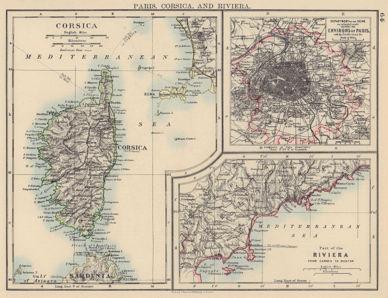 FRANCE. Paris Corsica Riviera. Ile de France Côte d'Azur(Cannes-Menton) 1901 map
