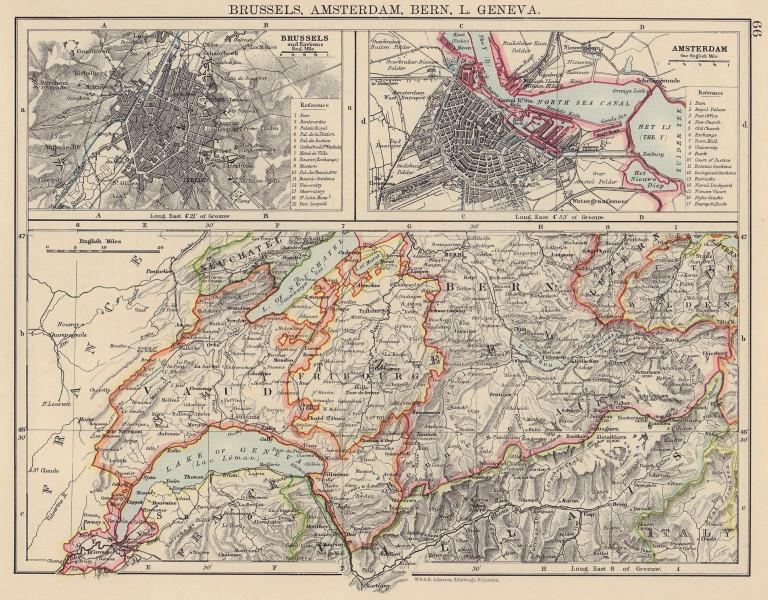 WESTERN SWIZERLAND BRUSSELS AMSTERDAM. Berne Vaud Geneva Fribourg 1901 old map