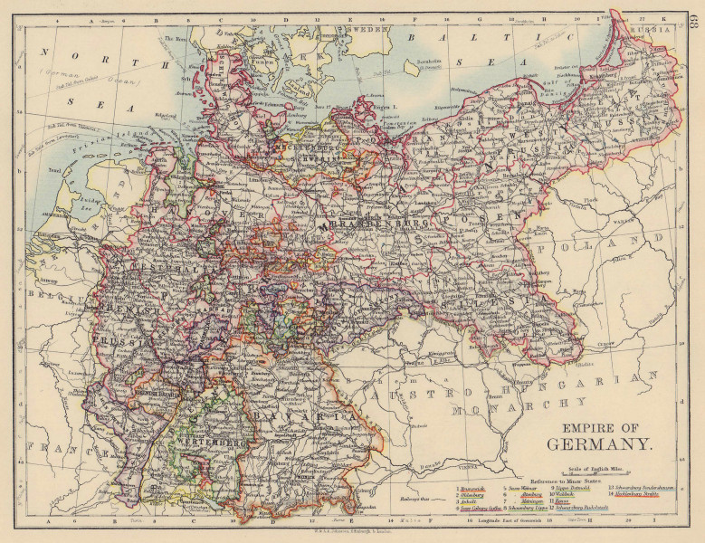 EMPIRE OF GERMANY. States. Prussia Bavaria Alsace Lorraine. JOHNSTON 1901 map