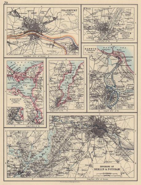 GERMAN/PRUSSIAN CITIES. Frankfurt Munich Szczecin Kiel Danzig Berlin 1901 map