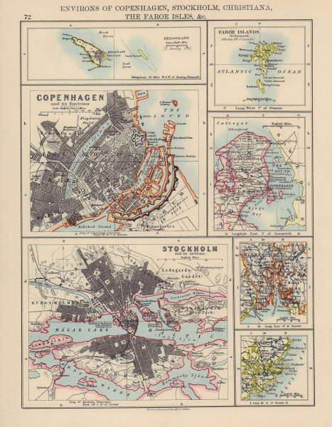 SCANDINAVIAN CITIES. Copenhagen Stockholm Christiania (Oslo) . JOHNSTON 1901 map