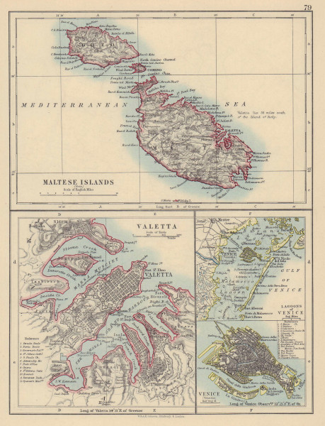 MALTESE ISLANDS & VENICE Valetta & Venezia town plans. Lagoons JOHNSTON 1901 map