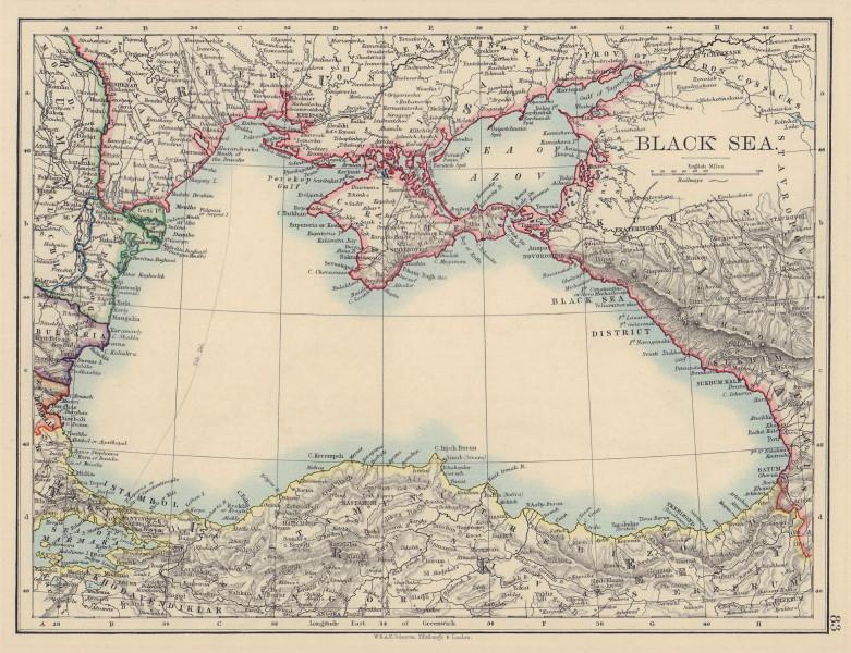 BLACK SEA. Russia Turkey Crimea Romania Bulgaria Kutais. JOHNSTON 1901 old map