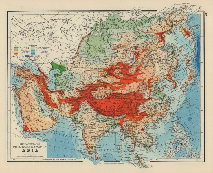 ASIA PHYSICAL. Relief Mountain heights Ocean depths Rivers. JOHNSTON 1901 map