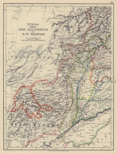 BRITISH INDIA NW. Punjab Baluchistan NW Frontier. Pakistan. Railways 1901 map