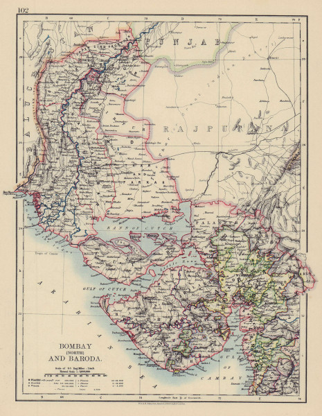 BRITISH INDIA NW Gurajat Sindh. Bombay Mumbai North. Vadodara. railways 1901 map